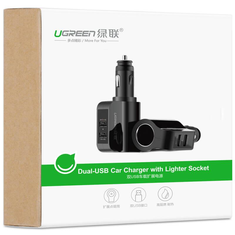 Sạc điện thoại/máy tính bảng 2 cổng USB 2.0 trên ô tô UGREEN CD115 20394 - Hàng chính hãng