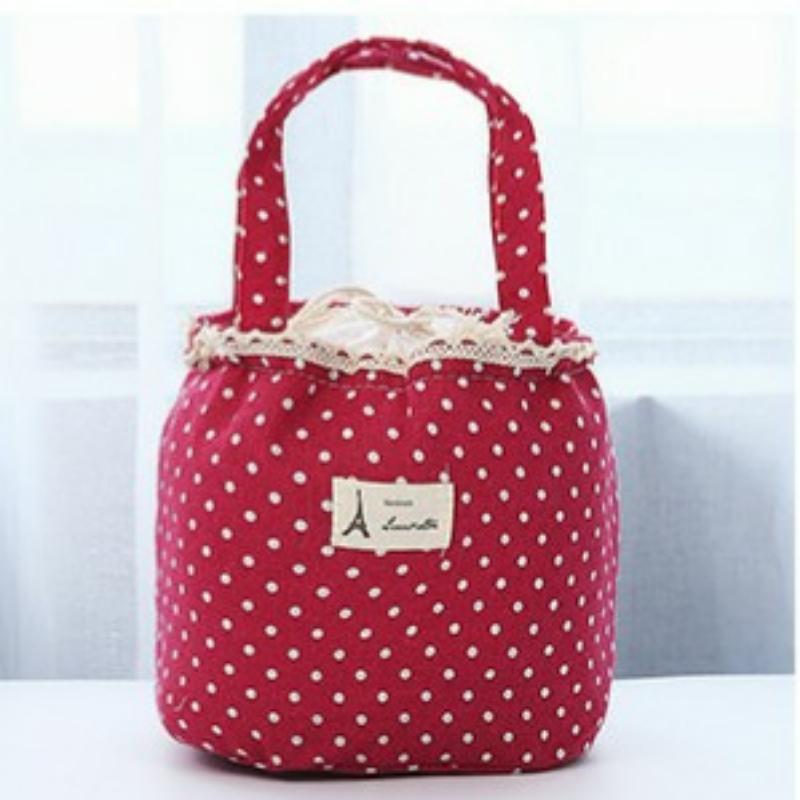 Túi đựng hộp cơm vải Oxford Chấm bi viền ren + tặng kèm 01 sổ tay