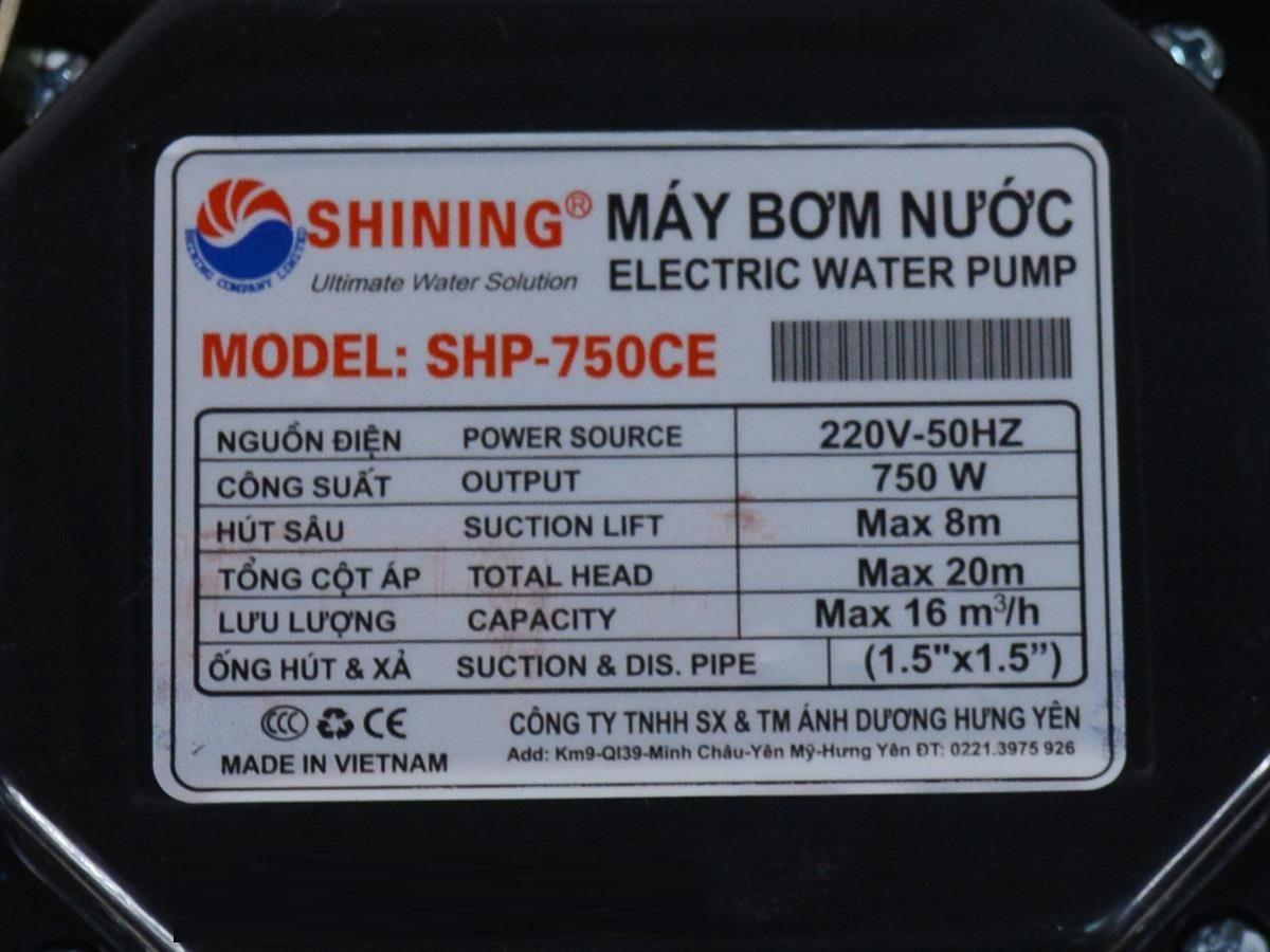 MÁY BƠM NƯỚC SHINING SHP-750CE (750W- THUỘC MÁY BƠM NƯỚC LY TÂM)- HÀNG CHÍNH HÃNG