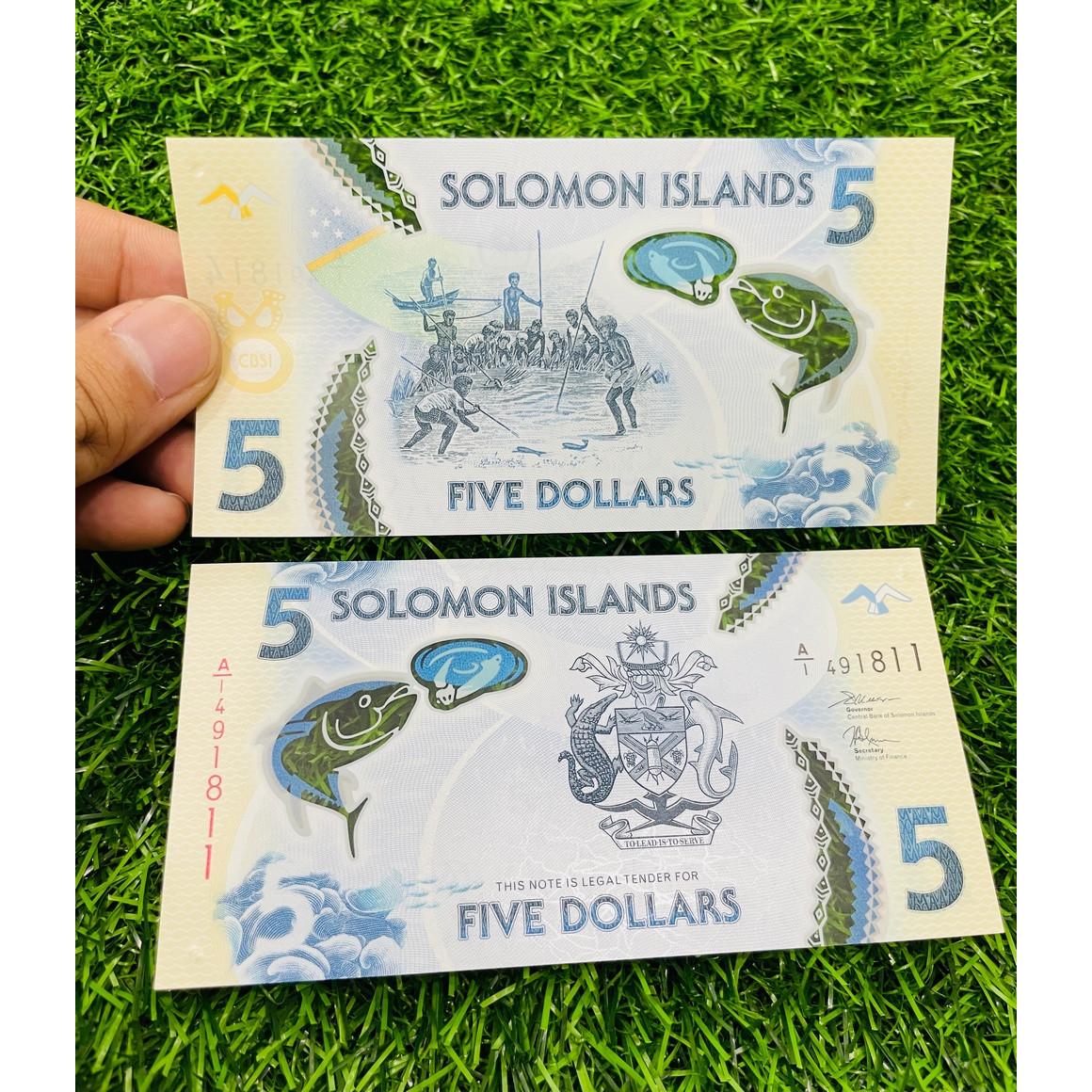 Tiền Solomon 5 Dollar, bằng polymer, đảo quốc ở Thái Bình Dương, mới 100% UNC, tặng túi nilon bảo quản The Merrick Mint