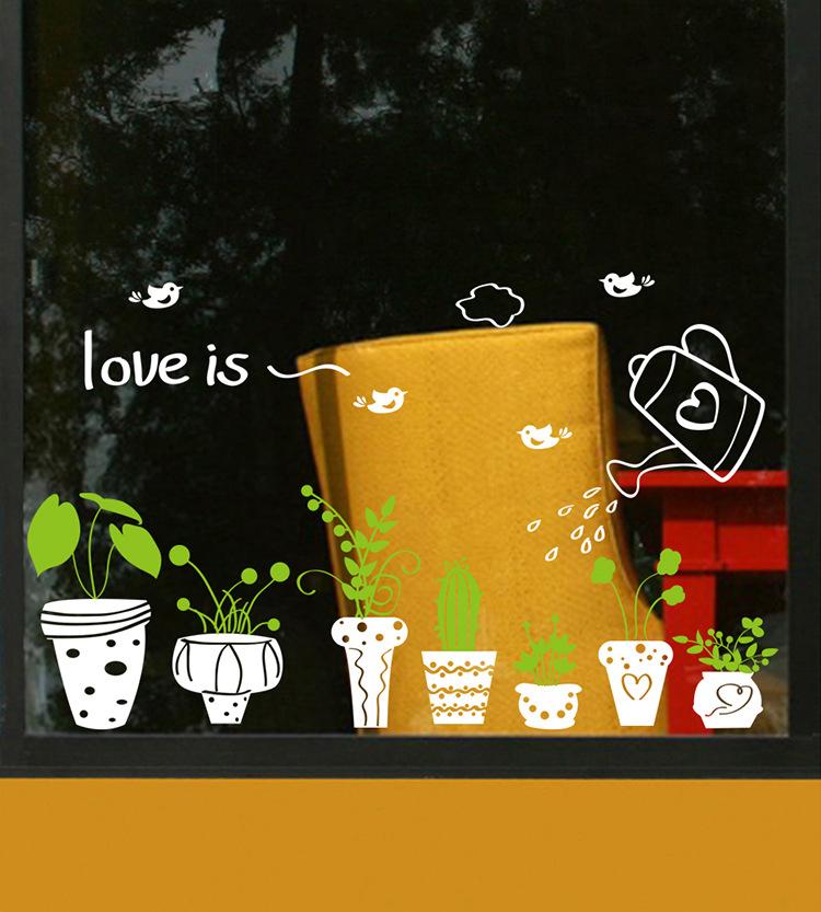 Decal dán kính hoa lá trang trí nhà cửa VIMOS