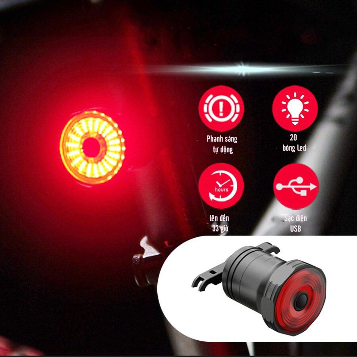 Đèn Đuôi LED Xe Đạp Thông Minh Cảnh Báo Ban Đêm Có Cảm Biến Chuyển Động Và Báo Đèn Khi Phanh Xe Chống Nước Sạc Điện USB MAILEE - Hàng Chính Hãng