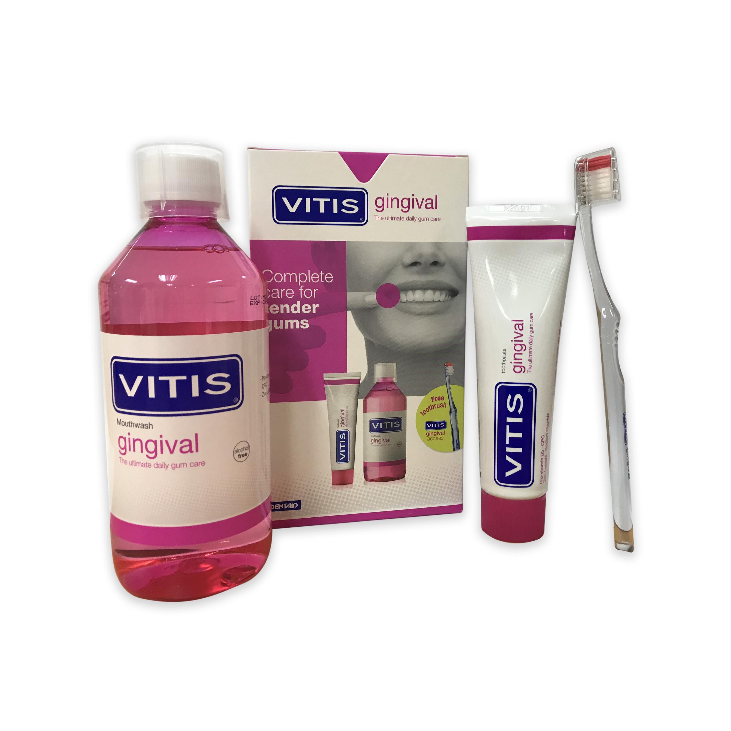 Bộ sản phẩm chăm sóc răng miệng dành cho nướu nhạy cảm - Vitis Gingival Mixed Pack