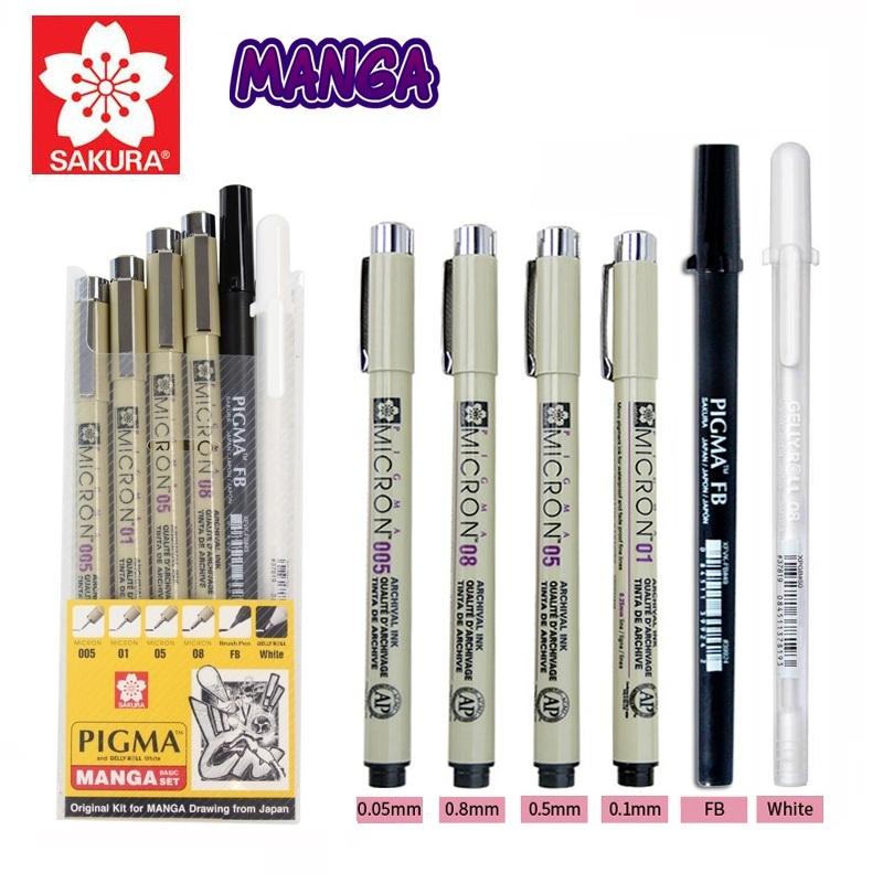 Bộ đi nét chuyên nghiệp Sakura Pigma Manga Basic Set (micron 0.05/0.1/0.5/0.8/FB/gell trắng)
