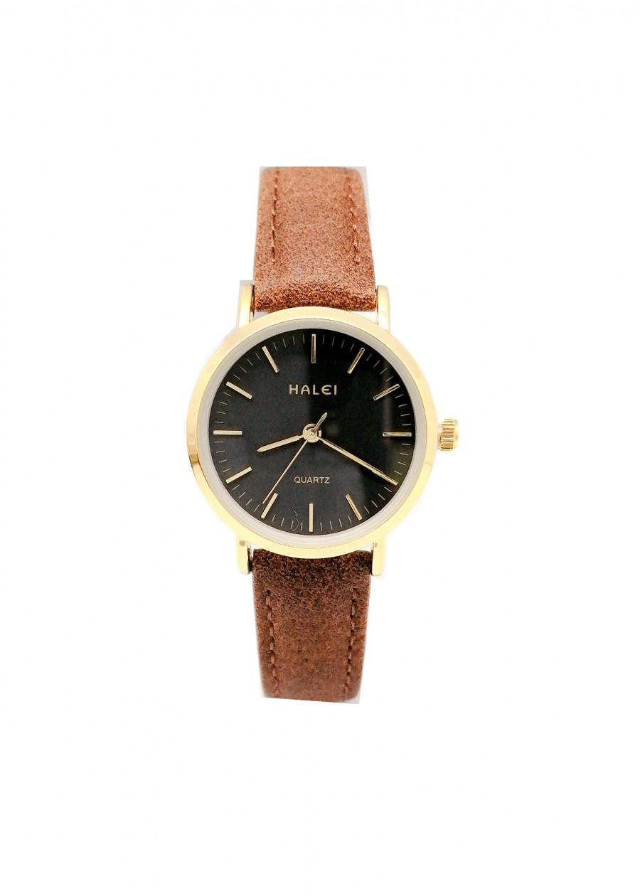 Đồng Hồ Nữ Halei HL541 Dây da nâu (Tặng pin Nhật sẵn trong đồng hồ + Móc Khóa gỗ Đồng hồ 888 y hình + Hộp Chính Hãng + Thẻ Bảo Hành)