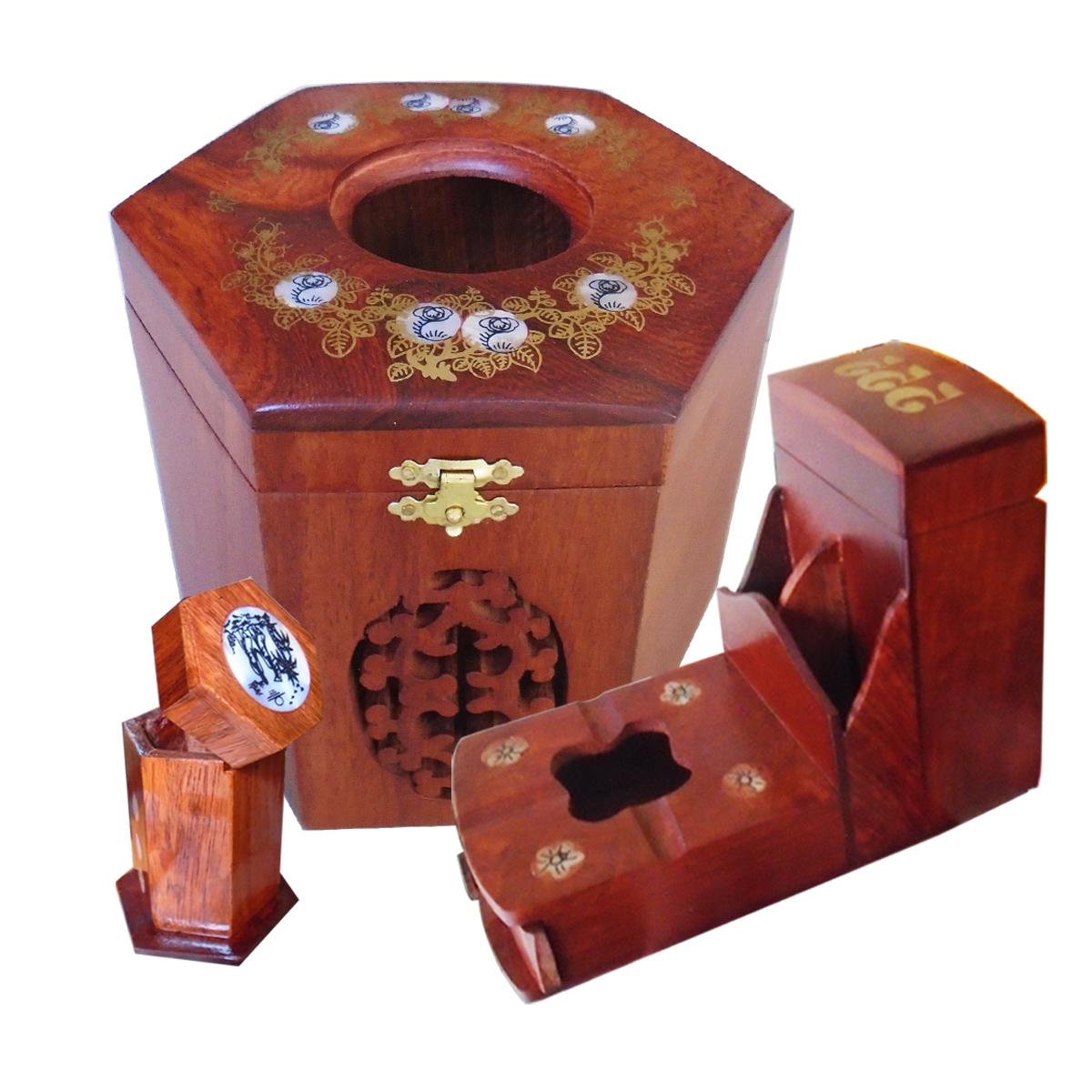 Bộ 3 món tiện ích gỗ hương Gạt tàn,hộp tăm,hộp giấy lục lăng - CGALL03