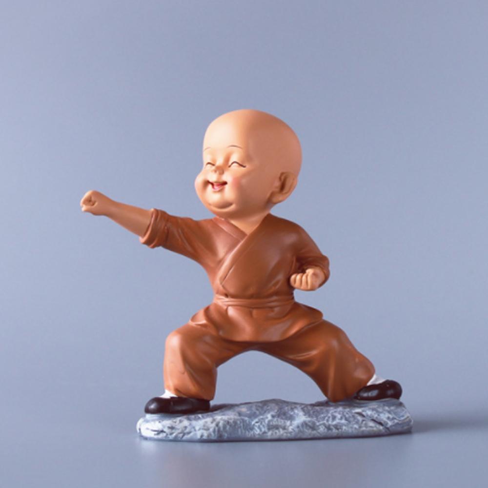 Bộ 02 tượng chú tiểu áo nâu mẫu múa võ 13cm Tấn Công - Phòng Thủ