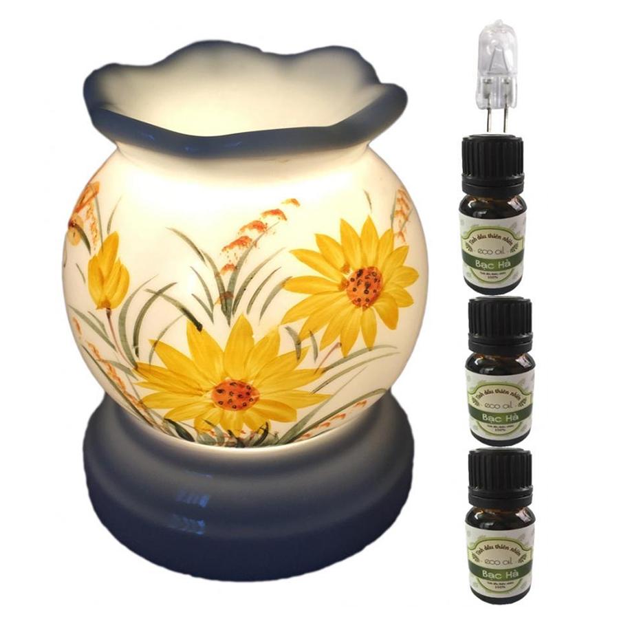 Đèn xông tinh dầu MNB17 và 3 tinh dầu bạc hà Eco 10ml và 1 bóng đèn