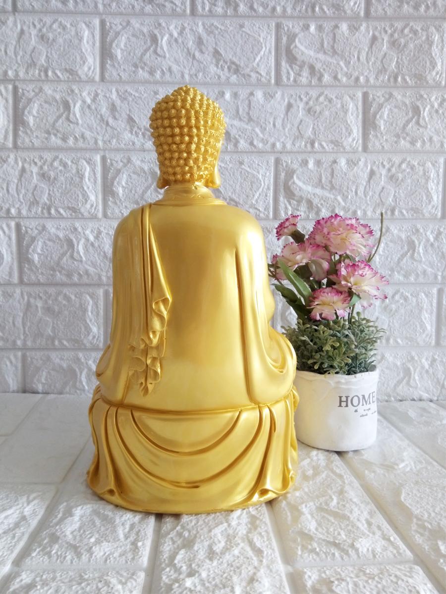 Tượng Thờ Phật ADIDA tọa đài sen đá poly vàng lớn cao 30cm - ADDV30