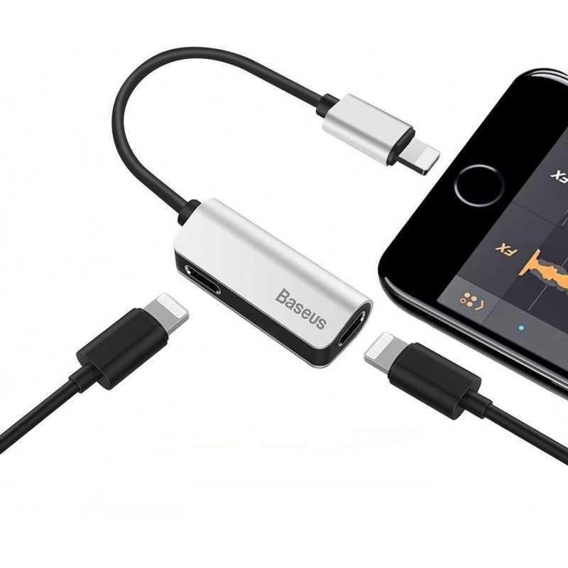 Bộ chuyển đổi Baseus chân Lightning sang 2 Lightning vừa nghe nhạc sạc pin đồng bộ dữ liệu tốc độ cao cho iPhone/iPad - Hàng chính hãng