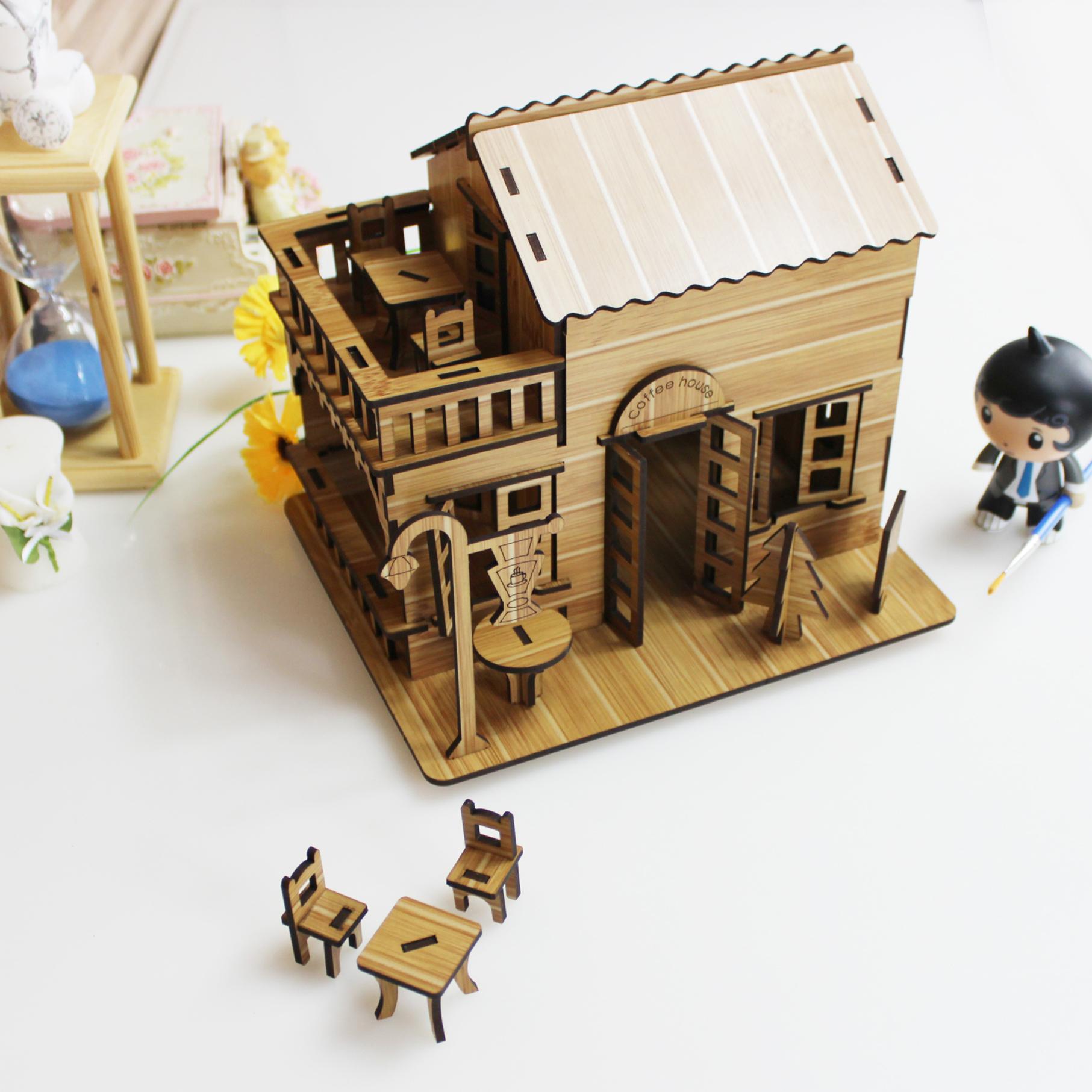 Đồ chơi lắp ráp gỗ 3D Mô hình Quán Cafe Coffee House R-8075