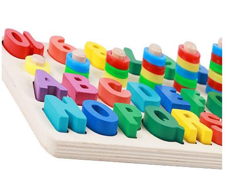 Đồ chơi gỗ 3in1 - Bộ Chữ cái và Bảng số bằng gỗ - Giáo cụ Montessori cho bé