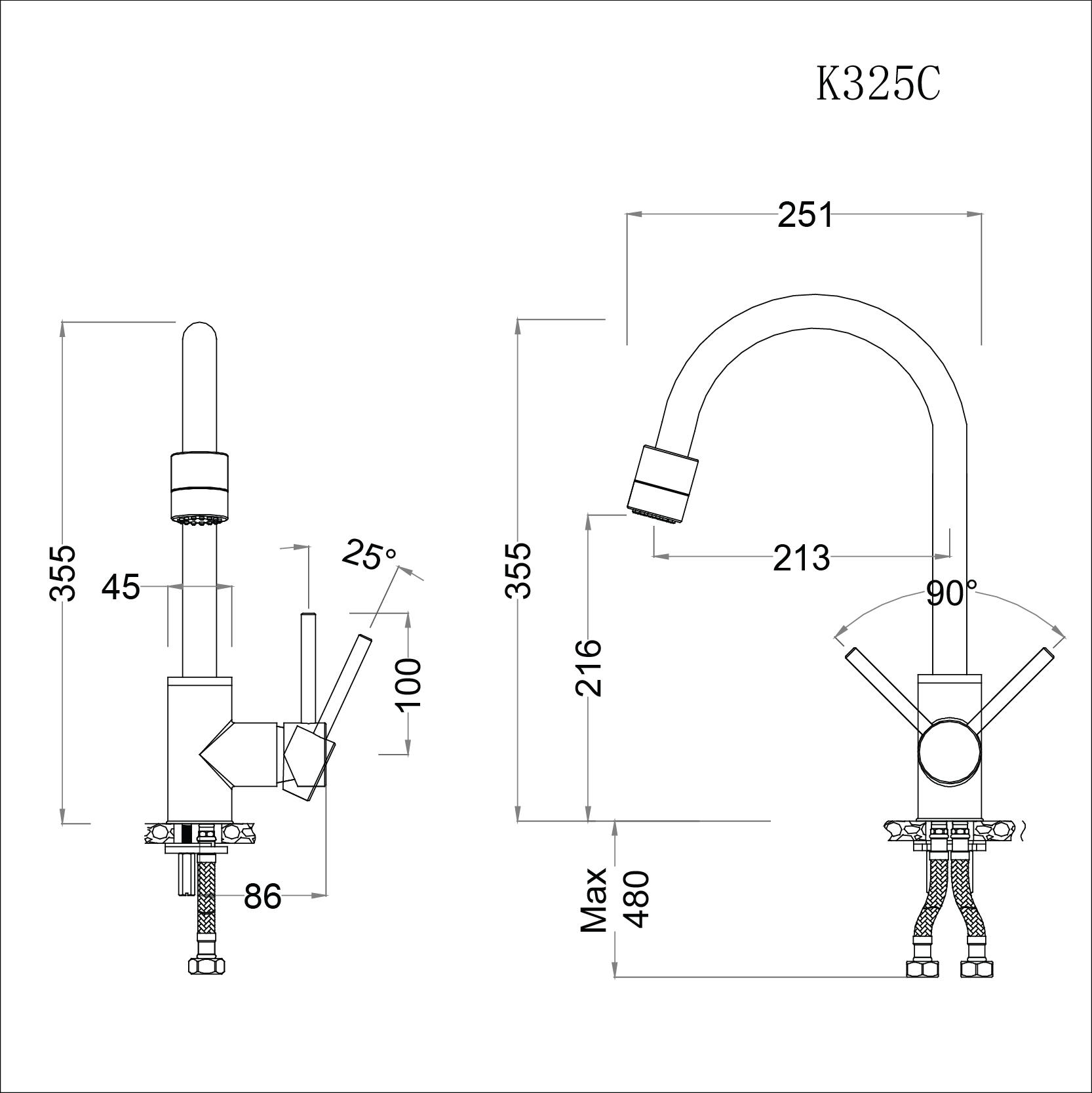 Vòi rửa bát (chén) nóng lạnh gắn chậu cổ cao 355 mm - Caesar K325C đầu vòi điều chỉnh được  03 chế độ xả