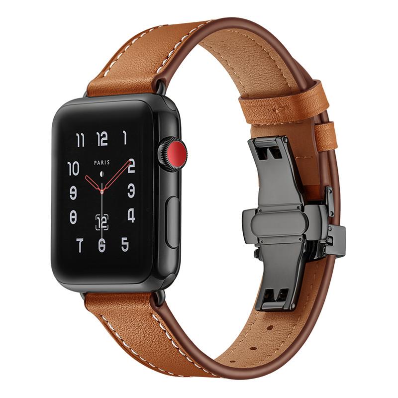 Dây Da Cho Apple Watch 42/44mm Khóa Bướm Đen