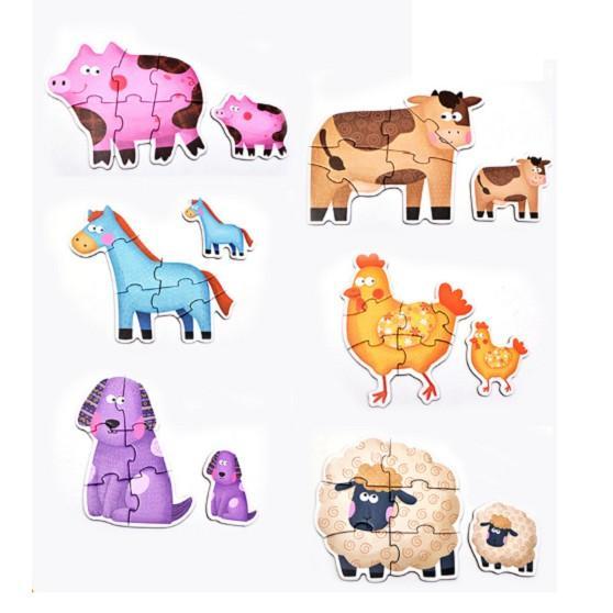Đồ chơi bộ xếp hình 6 hình Puzzle size to, hộp giấy chọn chủ đề cho bé