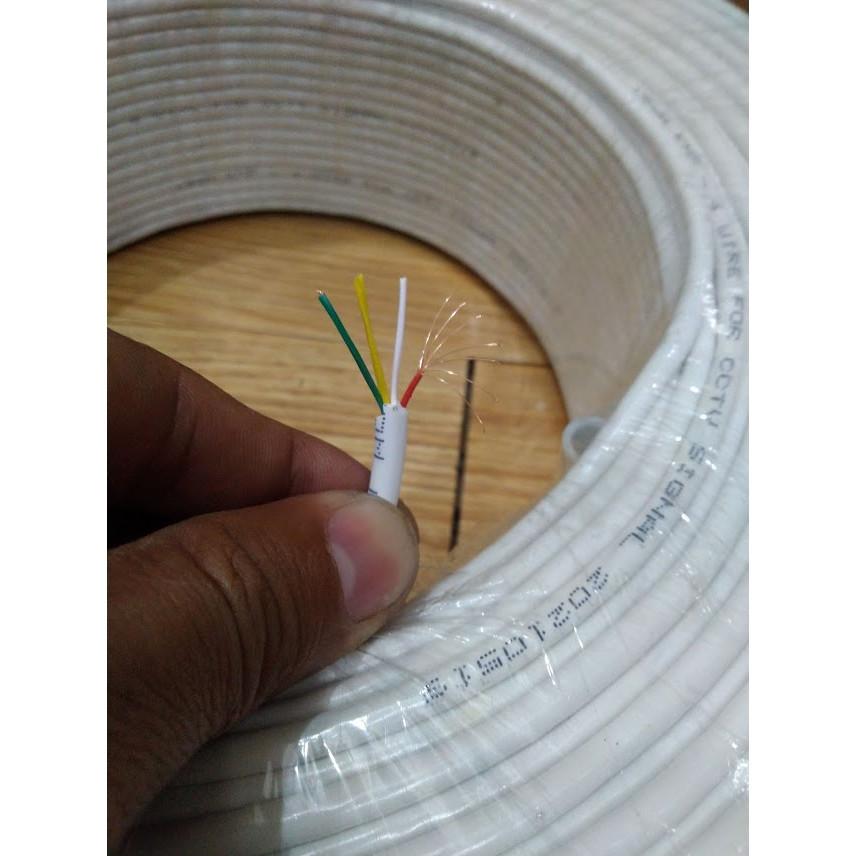 Dây tín hiệu camera trong nhà, 4 lõi, cuộn 200m màu trắng