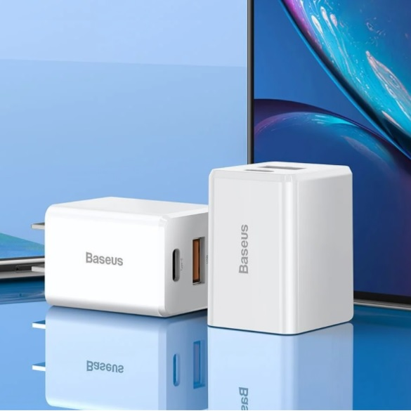 Adapter củ sạc nhanh đa năng 18W cho Smartphone /Tablet / Macbook hiệu Baseus Traveler PPS Quick Charger (2 cổng USB + Type C, sạc nhanh PD, Quick charge 3.0) - Hàng nhập khẩu