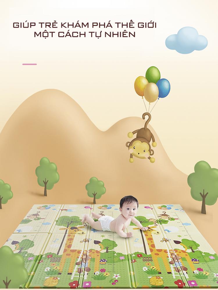 Nệm (thảm) chơi Nhà của Mẹ gấp gọn 2 mặt cho bé kích thước 180x200x1cm - họa tiết hình thú dễ thương giao ngẫu nhiên