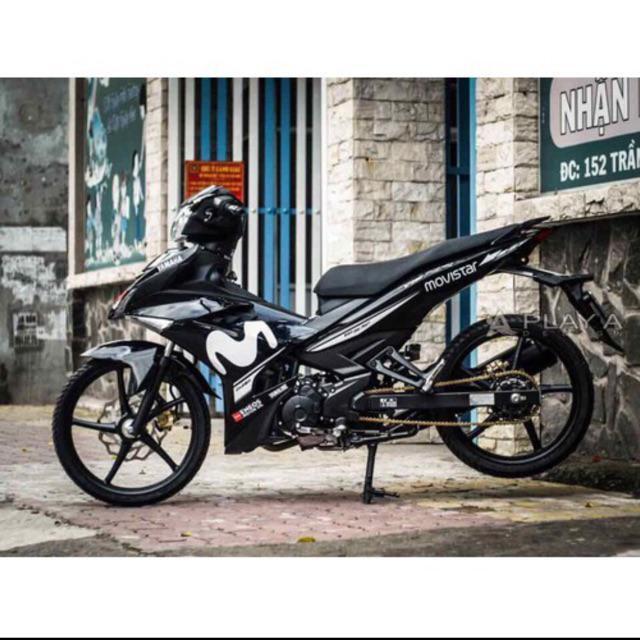 Tem dán dành cho xe máy Exciter 150 Rời mẫu Movistar trắng đen có thể đổi màu