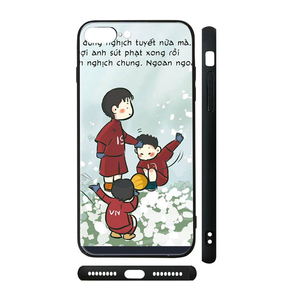 Ốp kính cho iPhone in hình U23 Việt Nam trên tuyết - Chib015 có đủ mã máy - iPhone XR