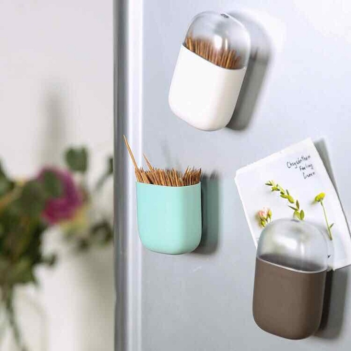 Hộp đựng tăm có nam châm hít tủ lạnh tiện lợi cao cấp