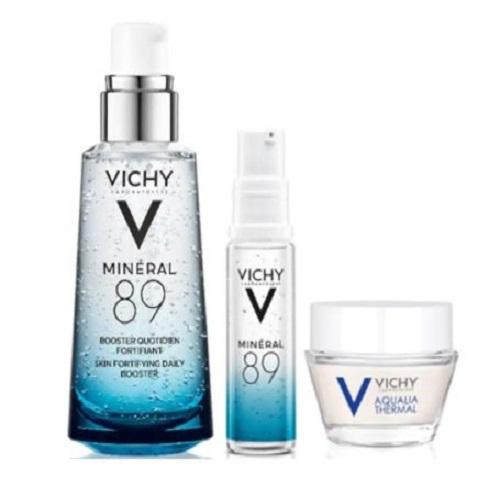 Combo Vichy Dưỡng Ẩm (Khoáng Cô Đặc Mineral 89 Tặng Gel Dưỡng Ẩm 15ml Và Khoáng Cô Đặc 10ml)