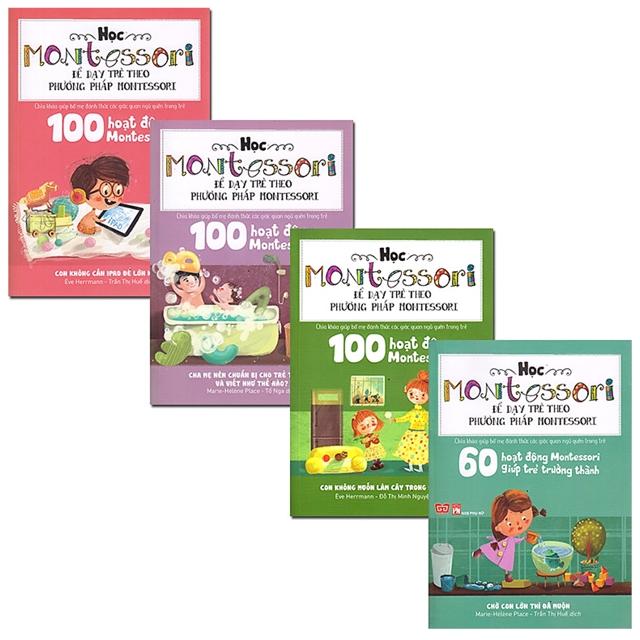 Sách Học Montessori Để Dạy Trẻ Theo Phương Pháp Montessori - Trọn Bộ 4 Cuốn Tặng kèm sổ tay giáo dục gia đình Nhật Bản