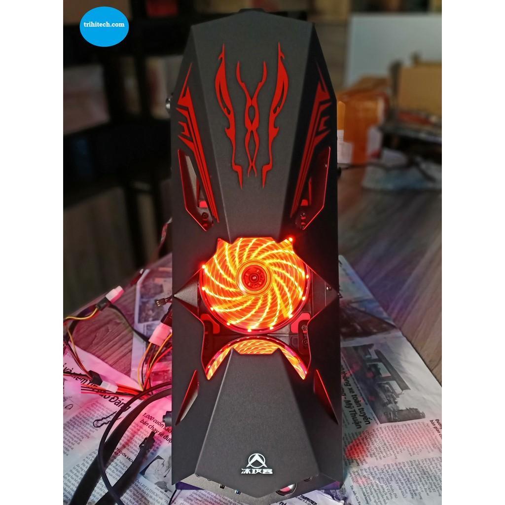 Vỏ Case Gaming Rồng Fan Led đỏ cháy