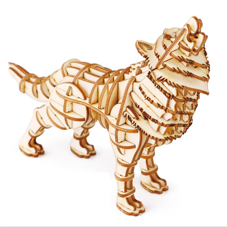Đồ chơi lắp ráp gỗ 3D Mô hình Chó Sói Wolf Laser TG207
