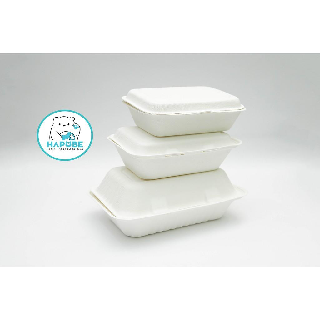 100 Hộp bã mía vỏ sò đựng đồ ăn 7x5 inch 600ml 18.7x13.1x5.9cm