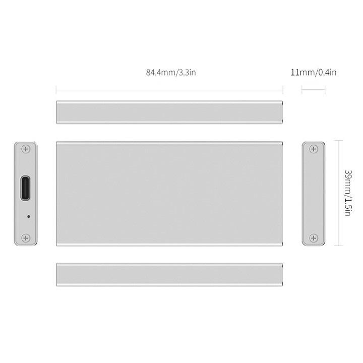 Box ổ cứng chuẩn mSATA vỏ nhôm USB type-C MSA-UC3