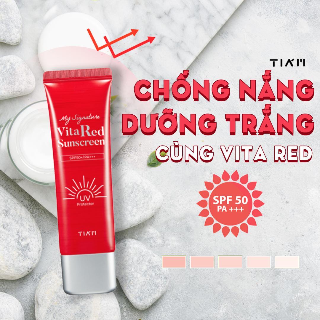 Kem Chống Nắng Dưỡng Trắng, Nâng Tông Da TIA'M MY SIGNATURE VITA RED SUNSCREEN SPF50+/PA+++