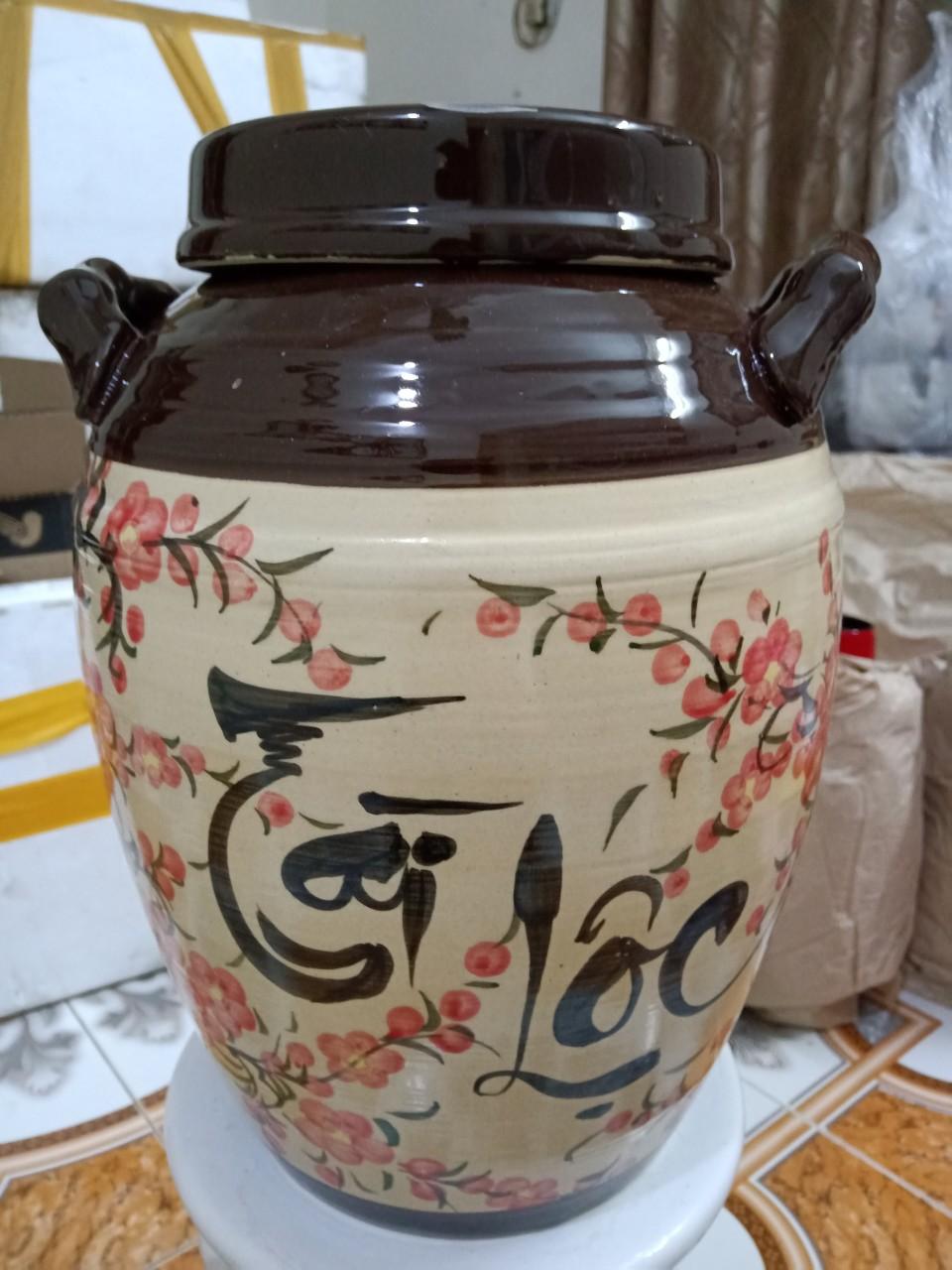 Hũ đựng gạo Bát Tràng vẽ hoa đào có quai loại 10kg