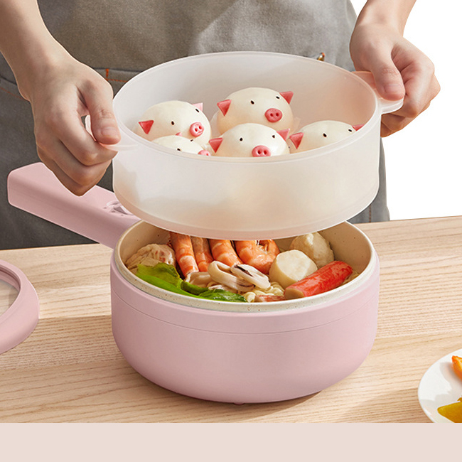 Chảo điện đa năng chống dính ceramic  công nghệ Korean  , nấu mỳ , chiên sào, nấu QC-DZ2712 ( tặng kèm bộ muôi )
