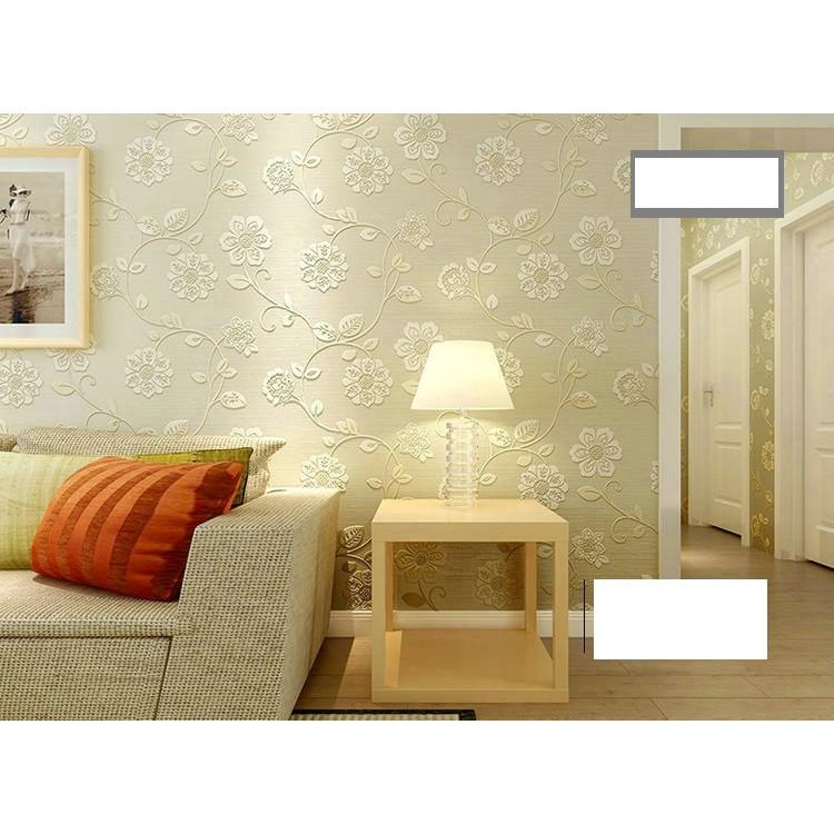 Giấy dán tường 3d họa tiết hoa vàng 2 - không keo khổ rộng 53cm dài 10 mét