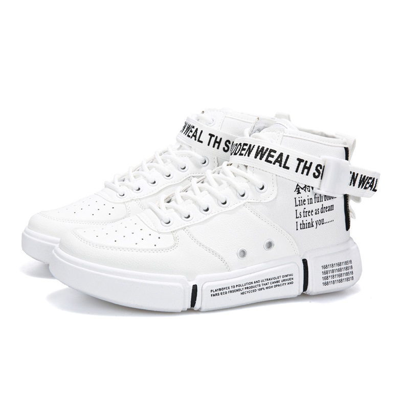 Giày Bốt Cổ Cao Nam Thời Trang Phong Cách Hàn Quốc Màu Trắng BCC003