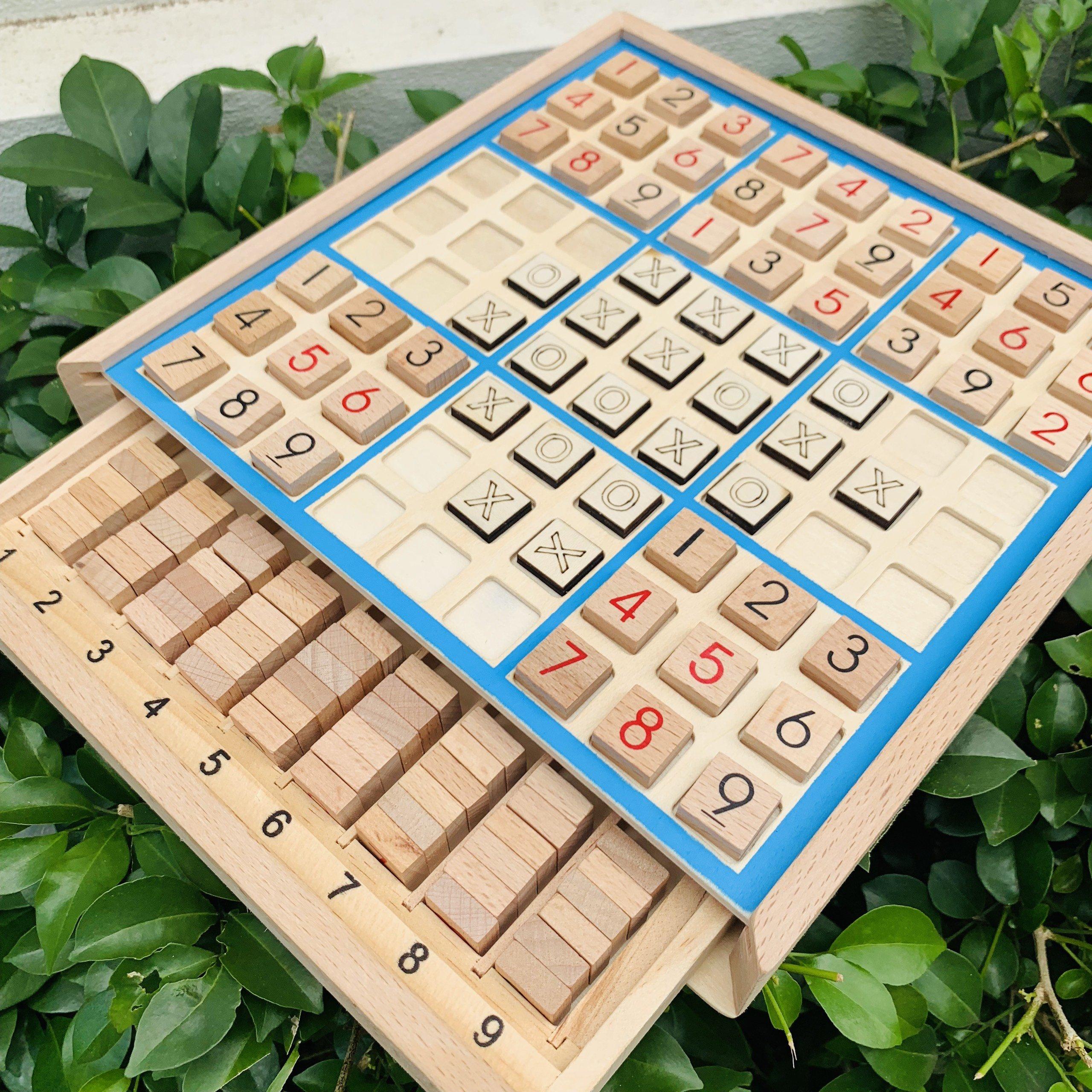 Bộ Đồ Chơi Gỗ  Sudoku Kết Hợp Cờ Caro 2 Trong 1 Hot Nhất Năm 2021 Rèn Luyện Tư Duy Trí Tuệ- Đồ Chơi Gỗ Thông Minh