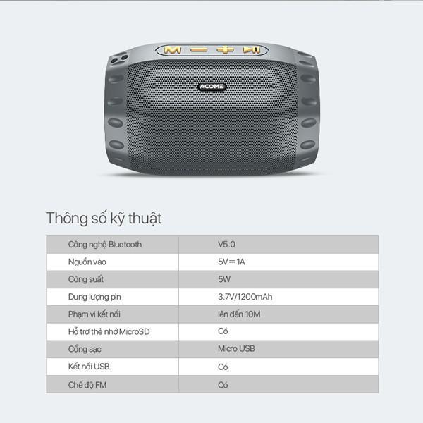Loa Nghe Nhạc Bluetooth ACOME Công Suất 5W, Hỗ Trợ Kết Nối MicroSD, USB, Đài FM, Playtime 6H - Hàng Chính Hãng