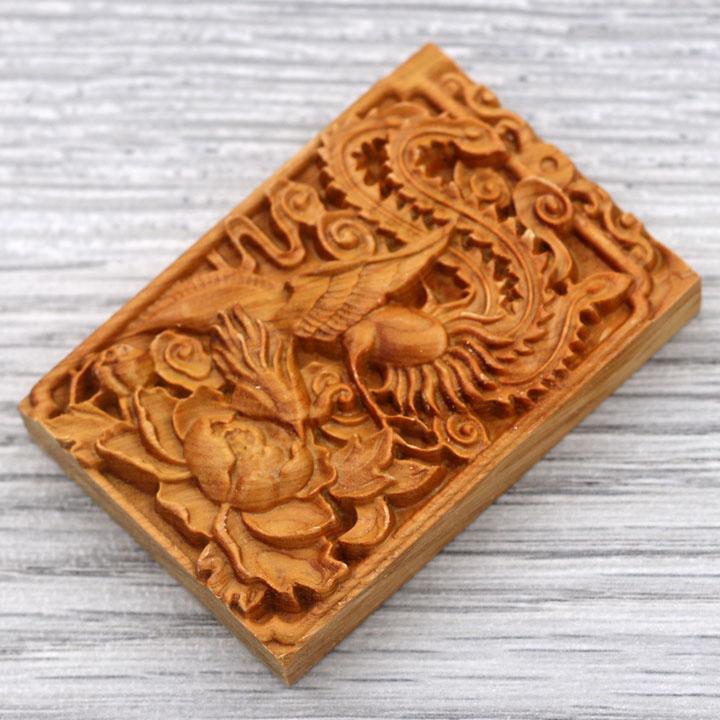 Mặt gỗ hoàng đàn khắc hình Phượng hoàng MG57