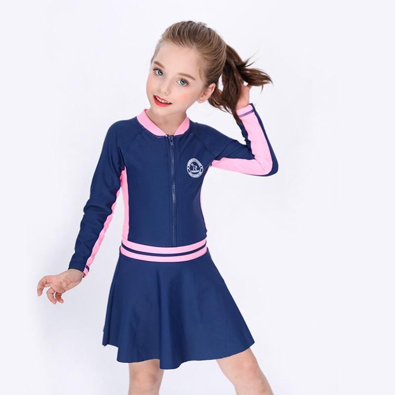 Bộ bơi dài liền kèm chân váy cho bé (2-14 tuổi)