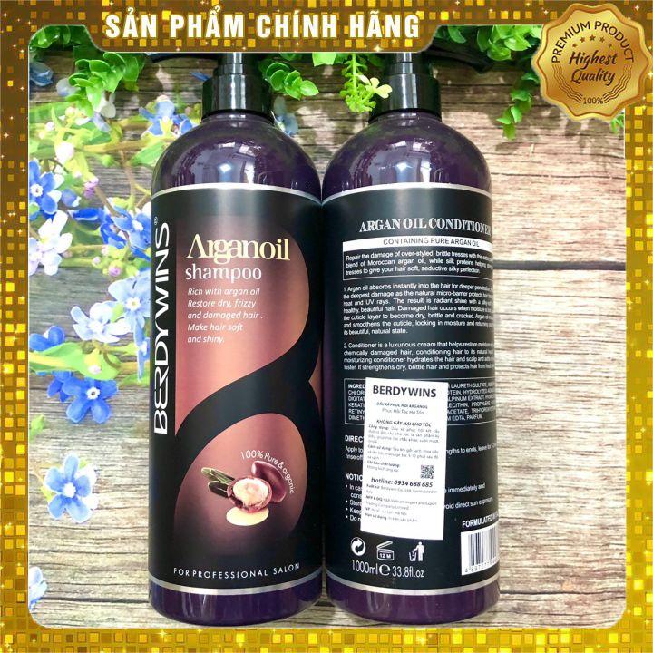 Bộ dầu gội xả BERDYWINS Argan Oil siêu mượt phục hồi tóc hư tổn 1000ML*2 (New)