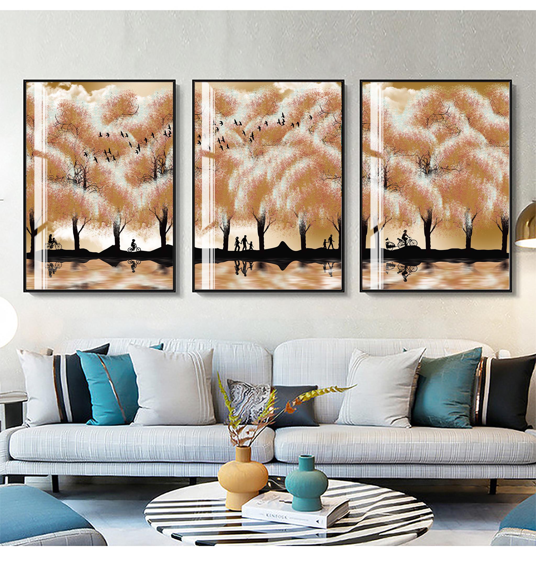 Tranh phong thuỷ Mica 3 bức Gia đình hạnh phúc trừu tượng (Bình Địa Mộc). Model: AZ3-0098. Khung nhôm hoặc Composite. Hình ảnh sắc nét, sang trọng, phù hợp nhiều không trang trí