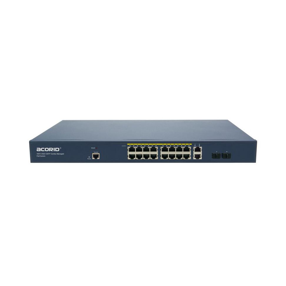 Switch PoE 16 cổng BASE-T PoE port x 2 cổng Uplink SFP Gigabit x 2 cổng GE Acorid LS7700-16P2C- 150W - Hàng Nhập Khẩu