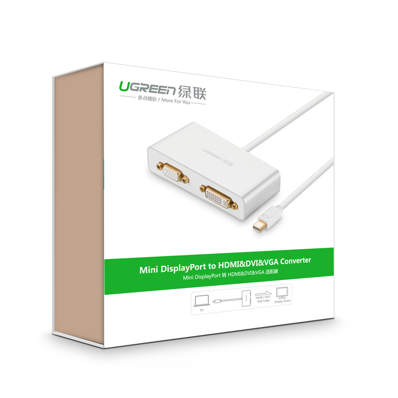 Cáp chuyển đổi (3 in 1) từ 1 cổng Mini DisplayPort sang 1 trong 3 cổng HDMI, DVI-I (24+5), VGA UGREEN MD109 10438 - Hàng Chính Hãng