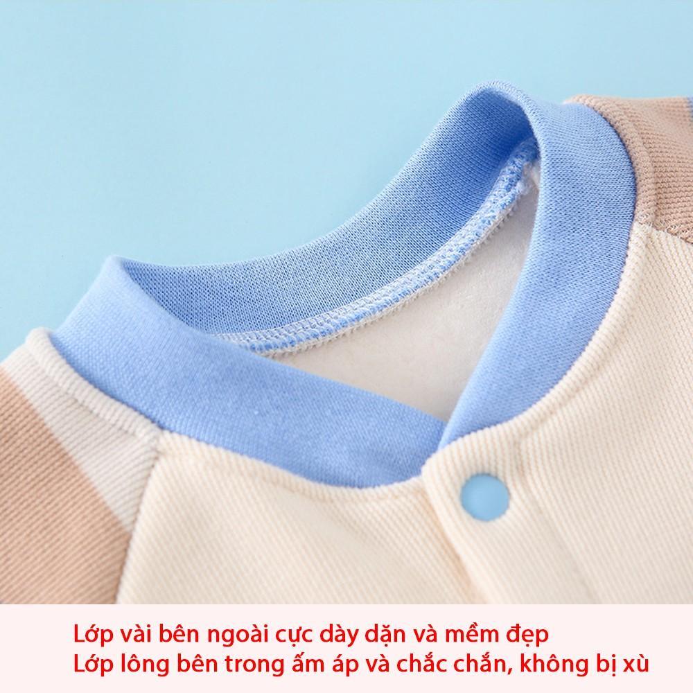 Body dài tay lót lông ấm cho bé trai, bé gái, bodysuit hàng xuất cao cấp