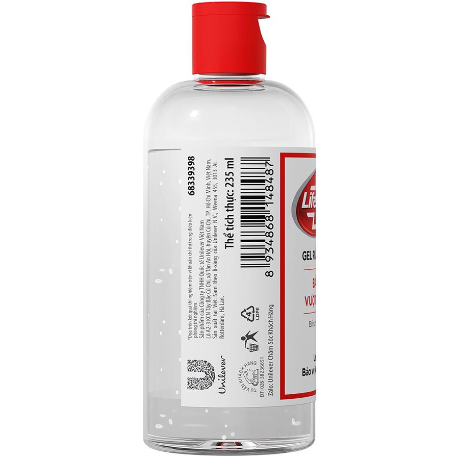 Combo 2 Chai Gel Rửa Tay Khô Sạch Siêu Nhanh Lifebuoy Bảo Vệ Vượt Trội 10 (Chai Nắp 235ml x 2)