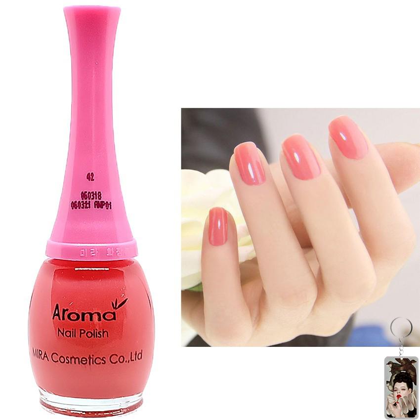 Sơn móng tay Aroma Nail Polish Hàn Quốc 12ml #42 hồng thạch tặng kèm móc khóa