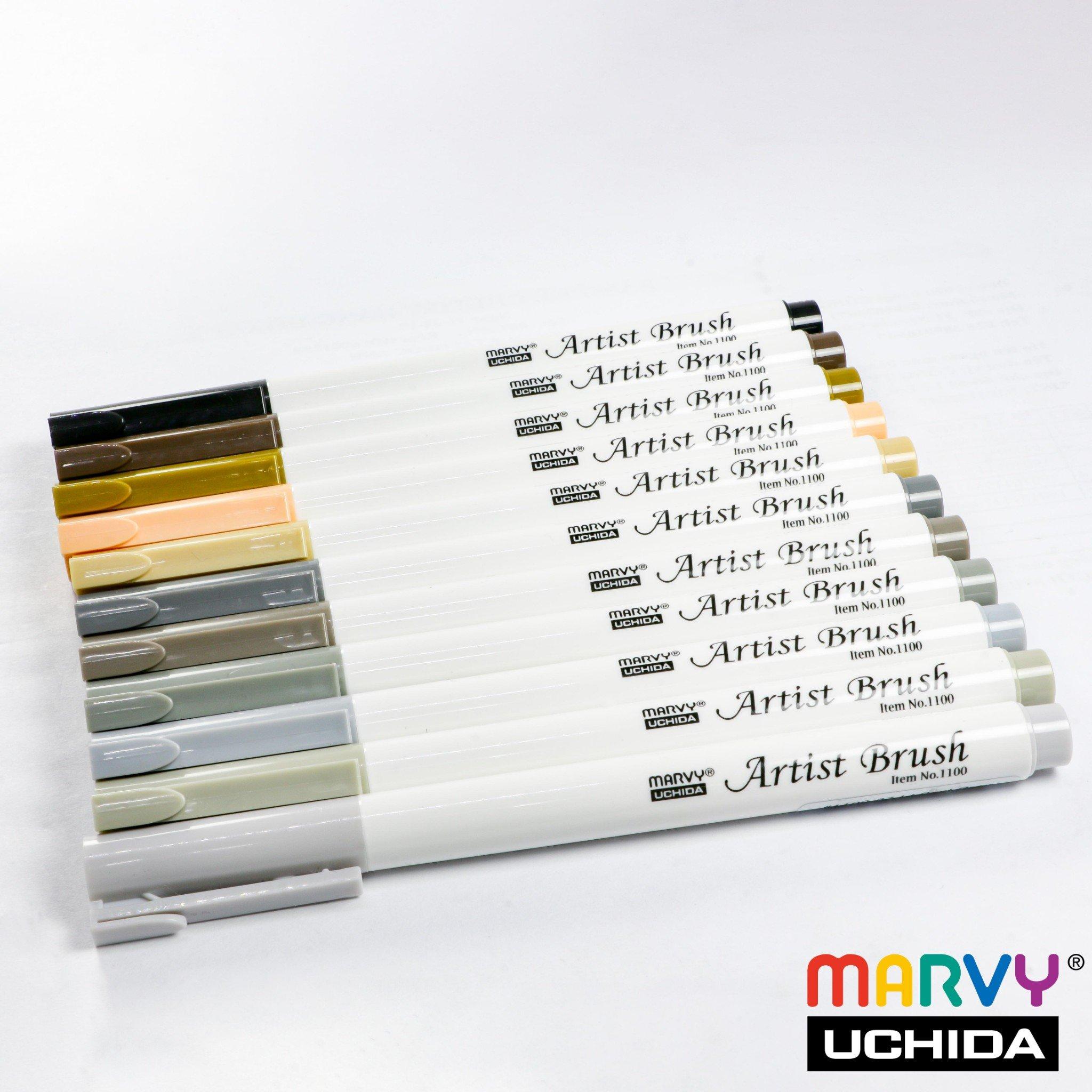 Bút lông đầu cọ viết calligraphy Marvy Artist Brush 1100 - Lt. Cool Grey (37)