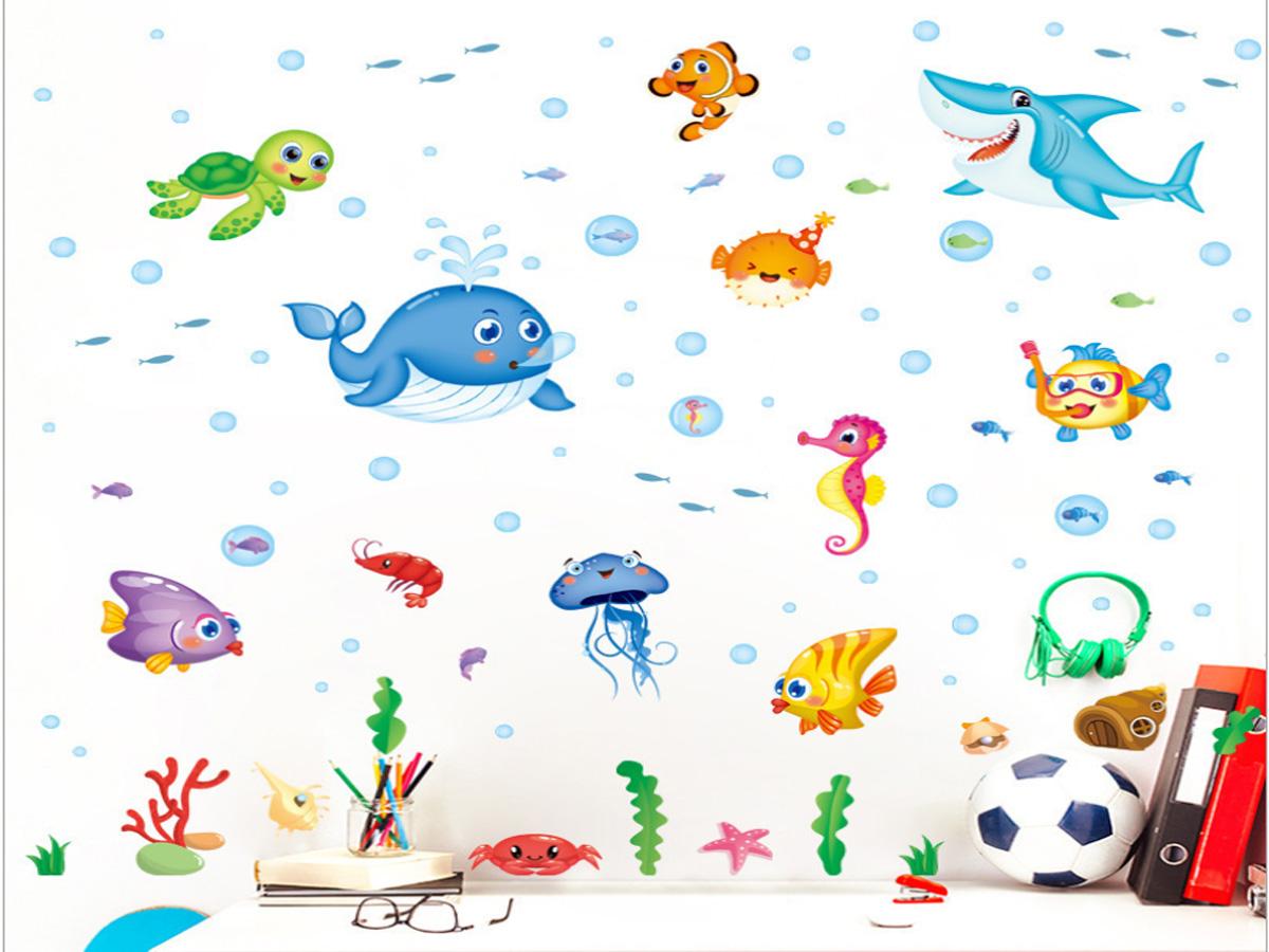decal dán tường đàn cá đại dương xl7206