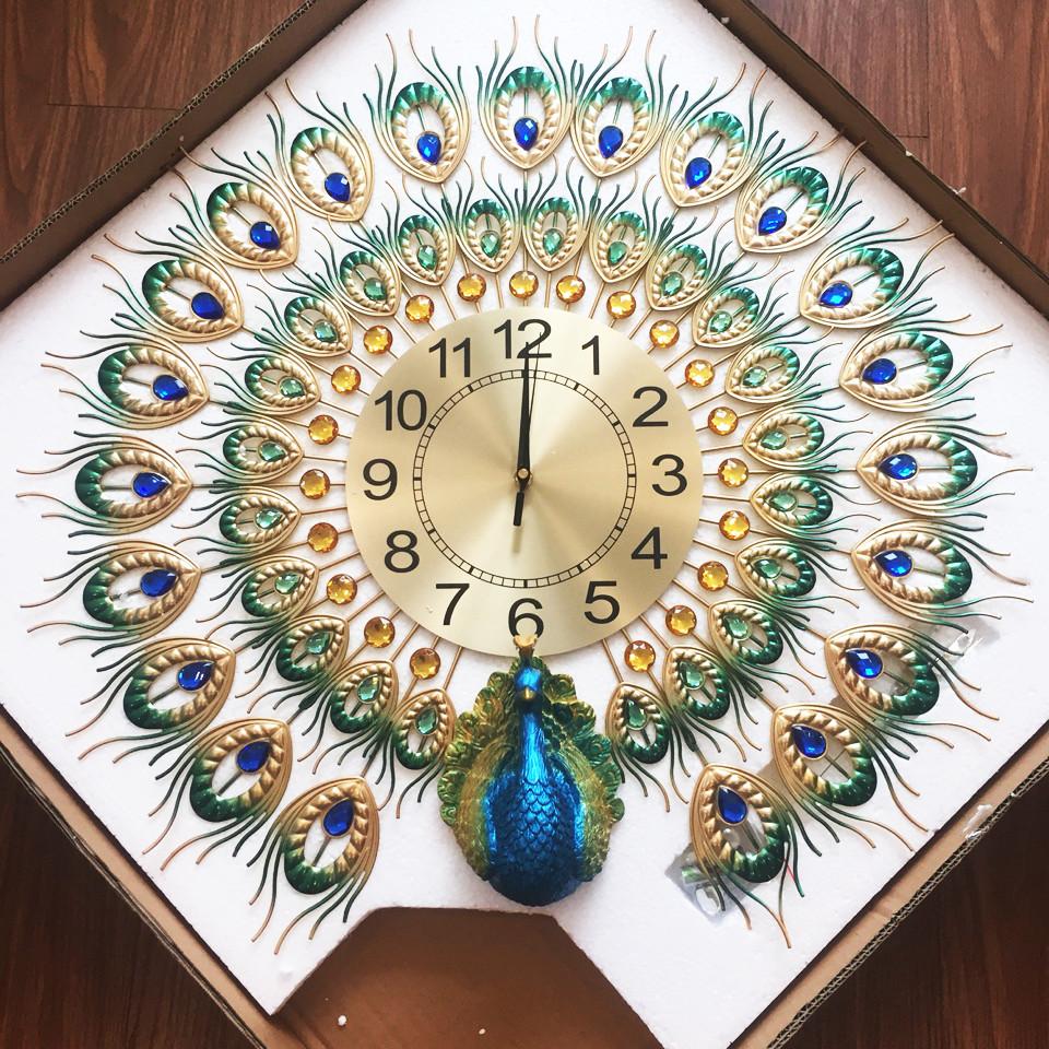 Đồng hồ treo tường chim công DN12 cỡ lớn (70 x 70cm)